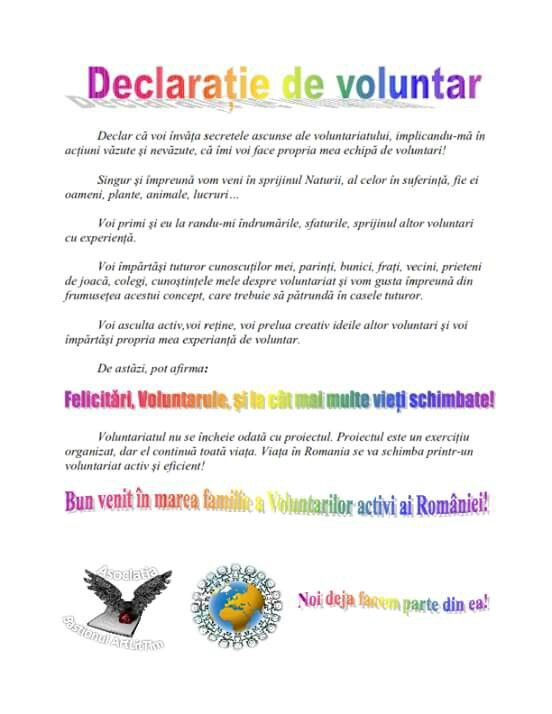 Declarație de voluntariat