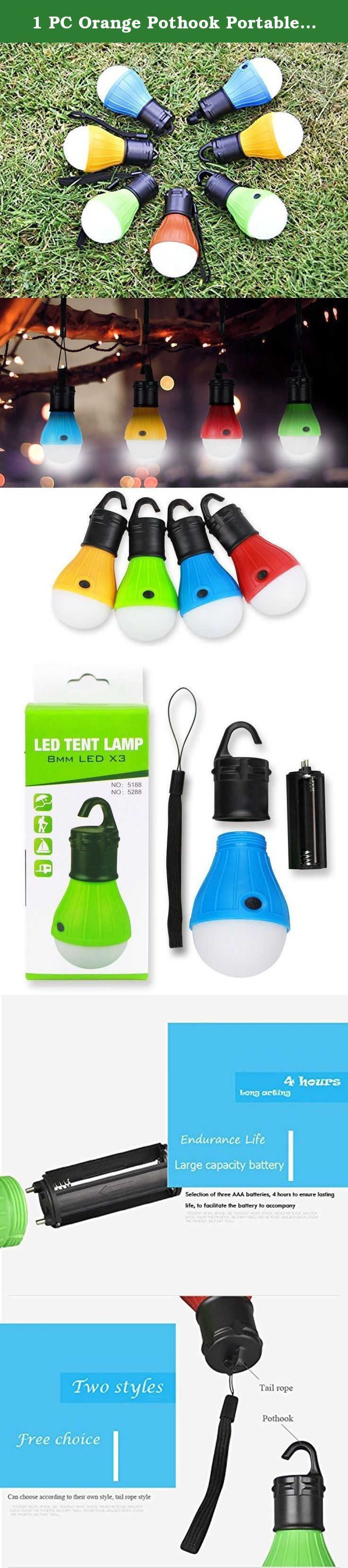 1 PC Orange Pothook Portable Hanging Hook LED Camping Lamp Tent Light Torch Flashlight Hanging Flat LED Light 3 Mode Adjustable Lantern AAA Battery ABS Plastic. Product Name: multi function camping lamp Product size: 75mmX128mm Product weight: 39G Product material: ABS environmental protection plastic Product source: 3 F8 lamp Life span: 50000 hours Color: green, orange, blue, red Use battery: 3 AAA batteries Switch gear: three light: light / light / semi flash Light: 20x3=60 lumens…