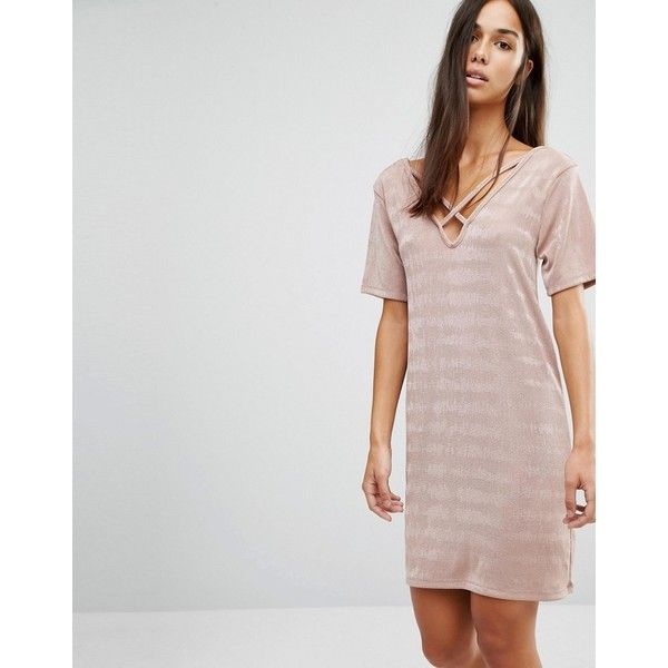 Missguided Cross Over T-Shirt Dress ($28) ❤ liked on Polyvore featuring dresses, pink, pink t shirt dress, pink dress, v neck dress, metallic dress and pink v neck dress