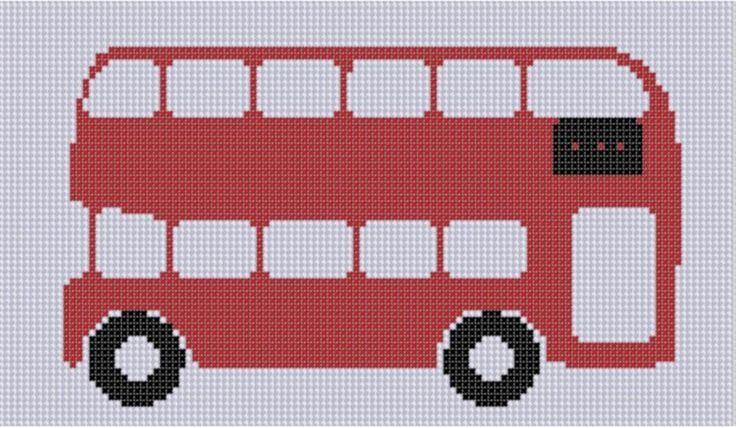 British Bus Cross Stitch Pattern