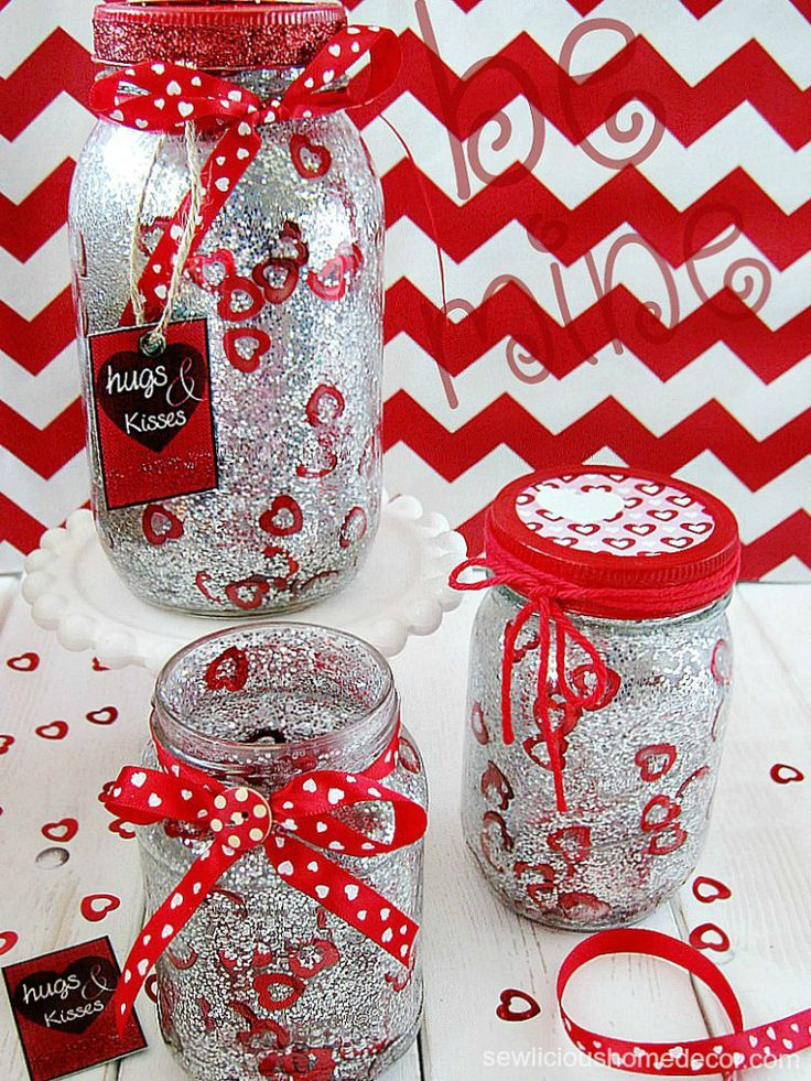 Make these adorable Valentine Jars for $5 or less!  FREE how-to tutorial and printable's! sewlicioushomedecor.com