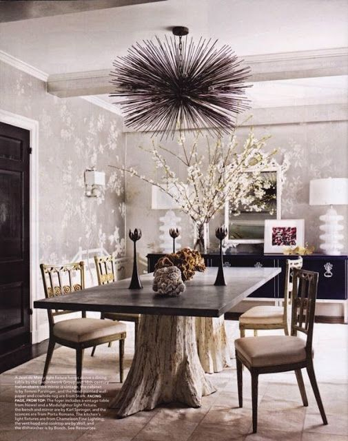 Rustic And Modern Mix In Dining Room Tree Table Base Sputnik Chandelier