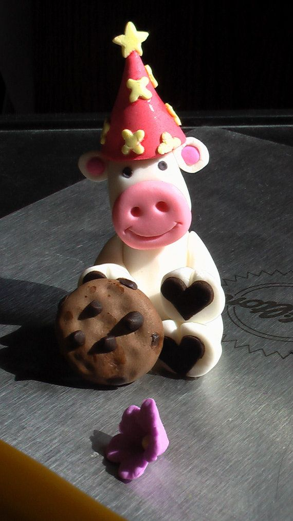 Gum Paste Birthday Cow with Hat and Cookie by SweetPerfectionCakes