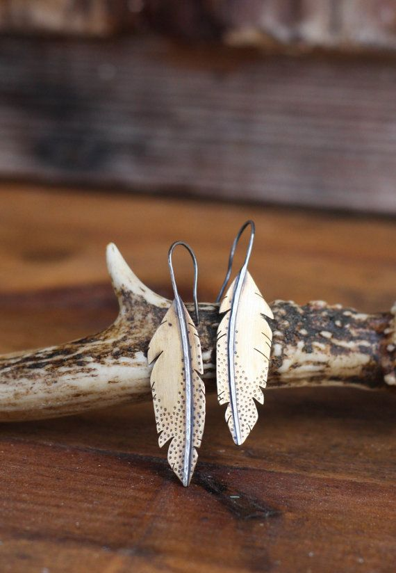 Brass and Sterling Silver Feather Earrings. Metal Feather Earrings. Metalwork Earrings. Southwestern. Brass Earrings. Rustic Simple Everyday...