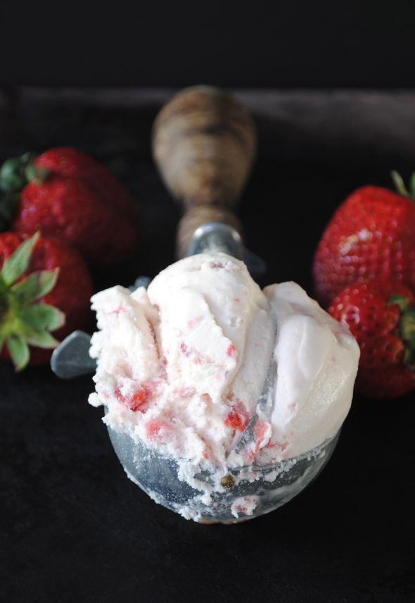 Strawberry Ice Cream made with fresh California Strawberries~T~ love this recipe because it doesn't use eggs. Use cream or half and half if you want a richer ice cream.