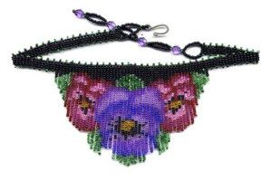 Beaded Dainty Pansy Fringe Necklace Pattern & Kit. (Click on the picture to see this item on our website). $16.95