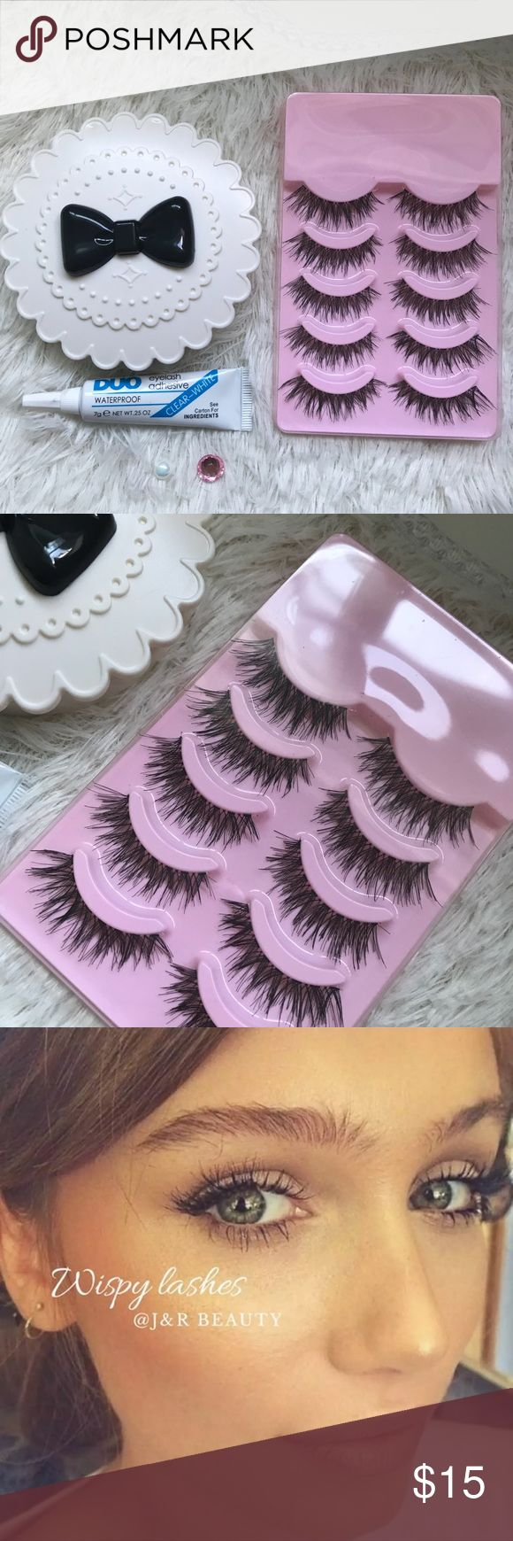 Wispy Eyelashes + Eyelash Case + Duo Glue All brand new included  ⭐️5 Pairs wispy Lashes  ⭐️Duo Glue  ⭐️Eyelash Case  ( all colors are available)   # tags  Iconic, mink, red cherry eyelashes, house of lashes, doll, kawaii, case, full, natural,  Koko, Ardell, wispies, Demi , makeup, Iconic, mink, red cherry eyelashes, house of lashes, doll, kawaii, case, full, natural,  Koko, Ardell, wispies, Demi , makeup, mascara, eyelash applicator, Mykonos Mink , Lashes , wispy ,eyelash case, mink lashes…