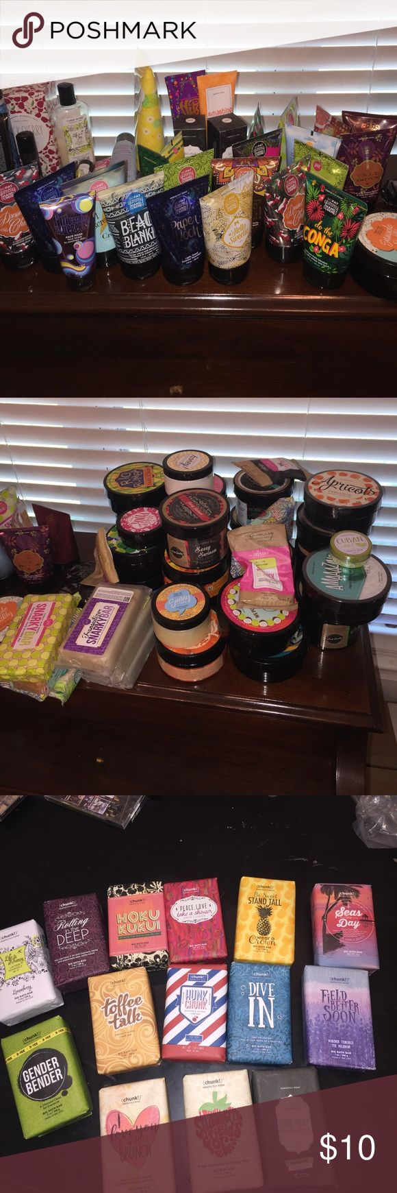Deluxe Sample Pack!! You'll get 12 samples of Perfectly Posh items.  I have face wash, face masks, hand creams, chunks, snarky bars, body scrubs, body butters, etc.  This is a perfect way to test out some items before you buy the full product.  If you want more information feel free to leave you email so I can contact you. perfectly posh Makeup