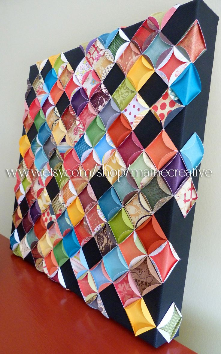 Paper patchwork on painted canvas 3 dimensional bright - to match fiesta - I could do this.