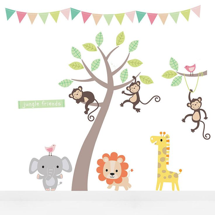 Parkins Pastel Jungle Animal Wall Stickers