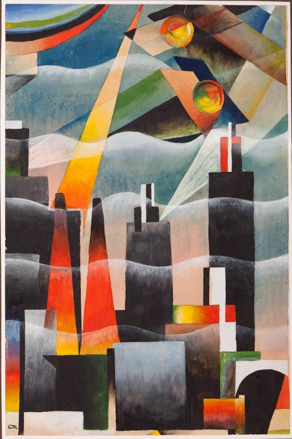 "Tullio Crali (1910- 2000) was an Italian artist associated with Futurism. A self-taught painter, he was a late adherent to the movement, not joining until 1929. He is noted for realistic paintings that combine ""speed, aerial mechanisation and the mechanics of aerial warfare"", though in a long career he painted in other styles as well."
