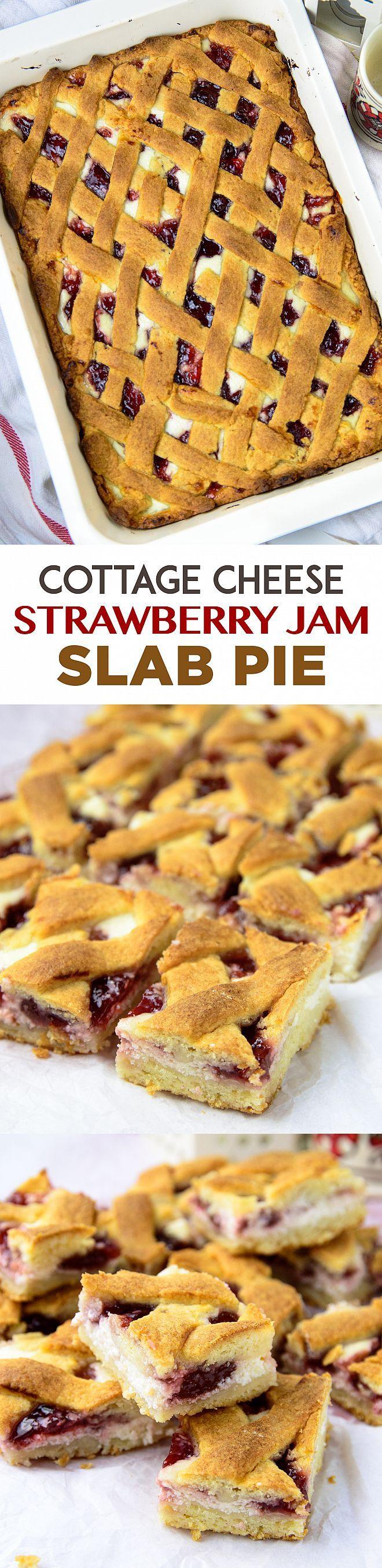 Cottage cheese strawberry slab pie | myzucchinirecipes.com