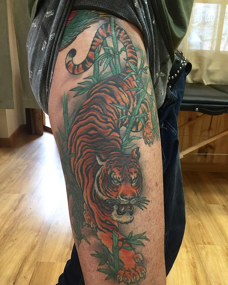 Amazing tiger thigh tattoo by lordbaibar inkspiration for Tiger thigh tattoos
