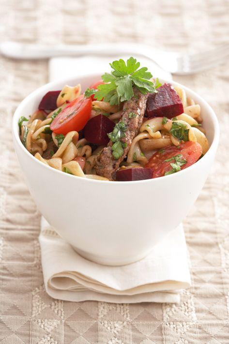 Steak and beetroot pasta