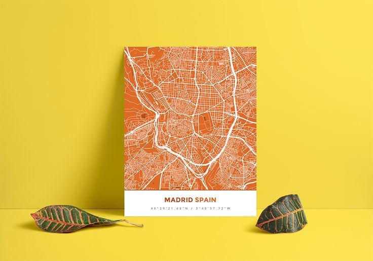 Premium Map Poster of Madrid Spain - Simple Burnt - Unframed - Madrid Map Art