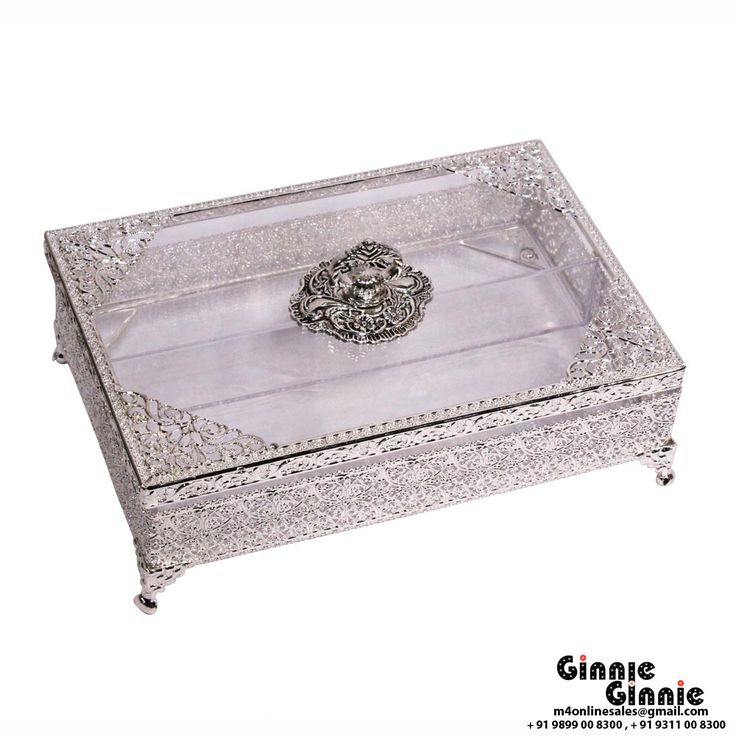 This Ginnie & Ginnie Exclusive Gift Box Filigree is a product from our Kitchen & Dinning Improvement Collection. It is made of Alloy and it got Silver Lacquer Coating finish on it. Its approx LxWxH is 10x7x4.5 inches. It is of approx 710 grams. Unique Code of this product is M400398.10