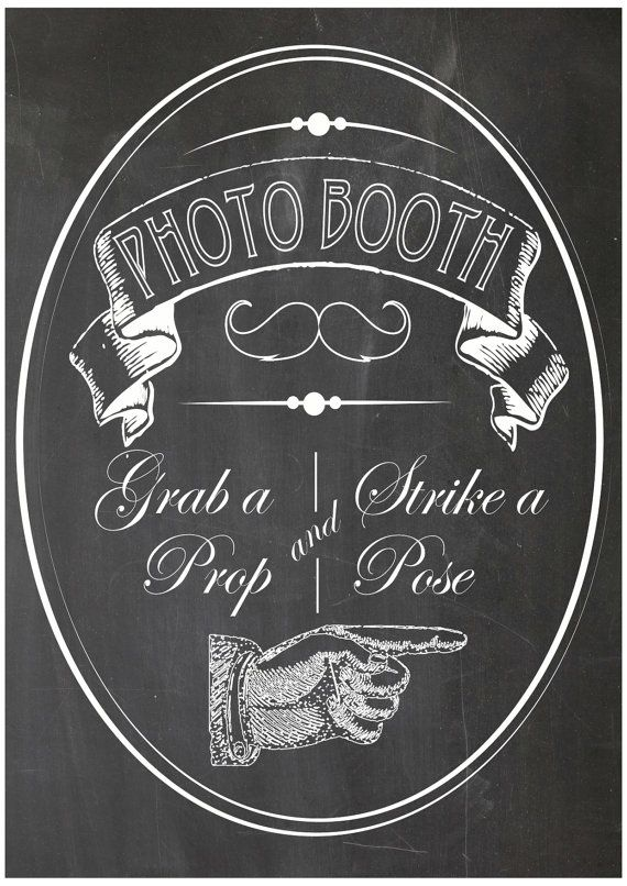 Vintage Photo booth Party Props Sign - PRINTABLE - Weddings or Baby Shower photo booth on Etsy, $7.34