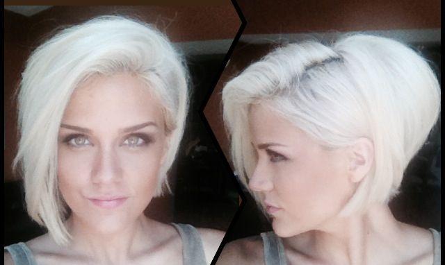 white hair • platinum blonde • asymmetrical bob • girl ...