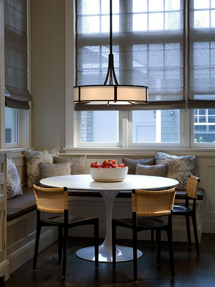 Dinette Area   Round Table, Banquette With Accent Pillows, Contemporary  Chandelier And A Million