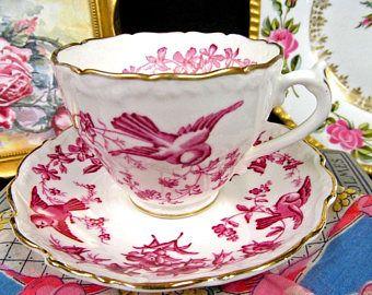 Coalport Tea Cup and Saucer Pink Birds Flowers Teacup