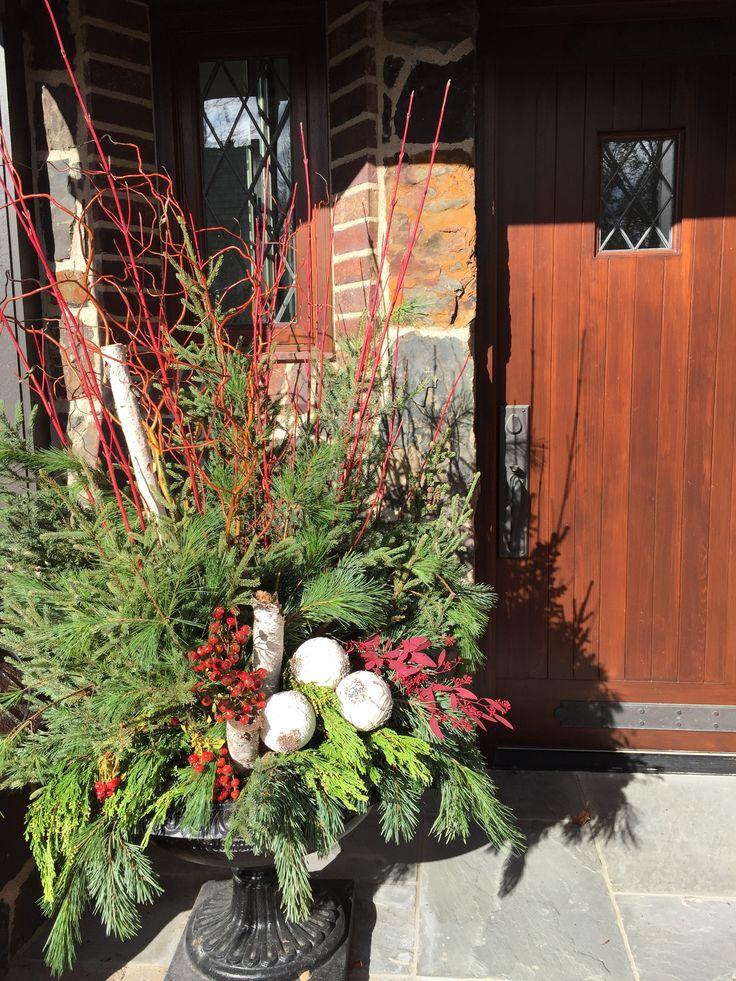 Winter Planter, Spruce Tips, Birch Poles, Eucalyptus, Incense Cedar, Garden Design, www.sarahscottagecreations.com