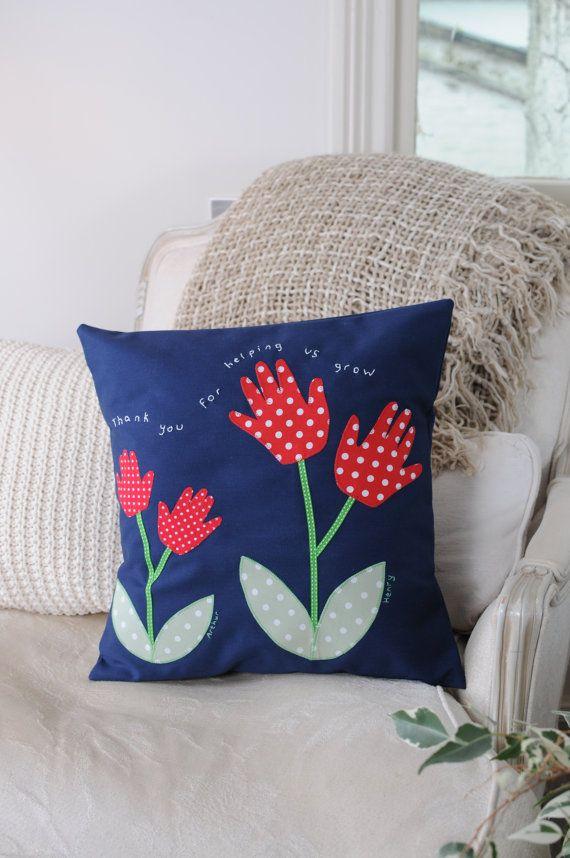 Handprint Cushion  Children's personalised by Twolittlepeasandme