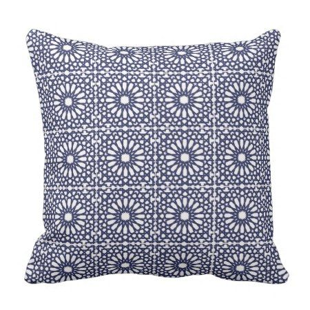 Navvy Blue White Geometric Cottage Chic Tribal Throw Pillow - #throwpillow #cushion #geometric #homedecor #hamptons