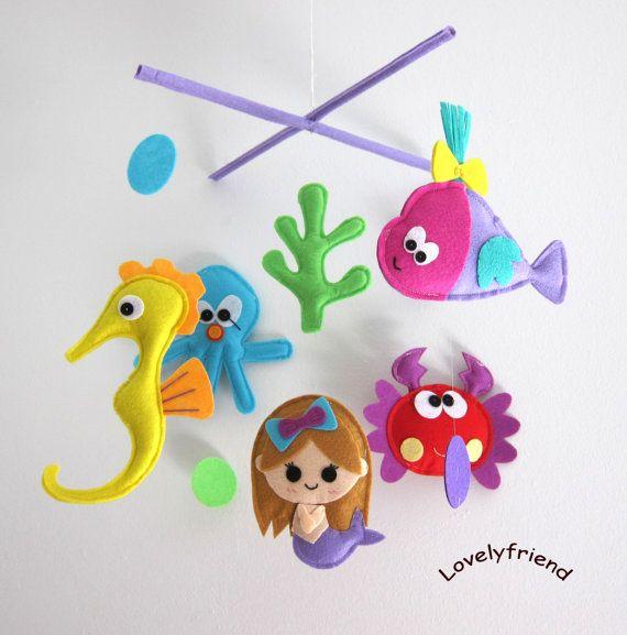 """Mobile -Baby Crib Mobile - Baby Mobile - Crib mobiles - Felt Mobile - Nursery mobile - """" under the sea and mermaid"""" Design. $78,00, via Etsy."""