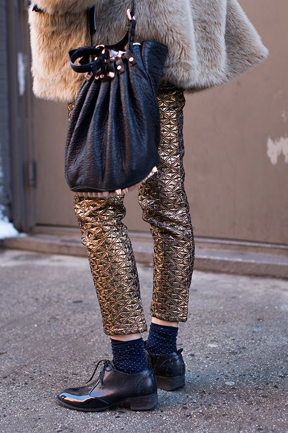 gold quilted pants, fur vest and alexander wang bag: cooool