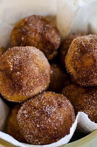 Pumpkin donuts.  And they are baked!  I want to try these soon.