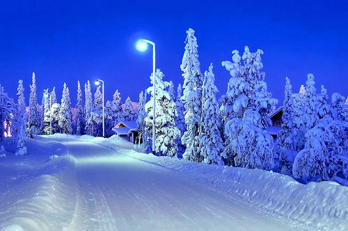 A snowy road in Ruka, Finland