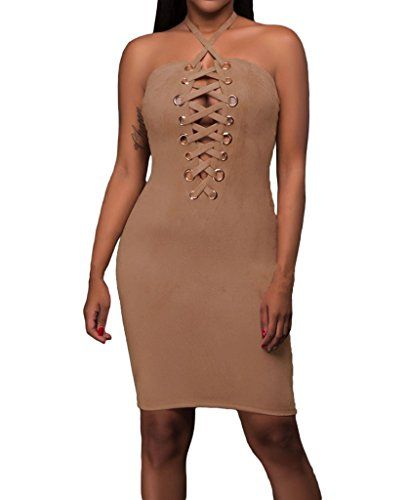 Special Offer: $9.92 amazon.com Stay sexy this season in this beautiful dress. Make your party more exciting with this dress.Material : 95%Polyester 5%SpandexDecoration: Hollow Out, Lacing, Hardware, StrappyIntriguing gold grommet and lace up detailElegant halter choker neck, bare backSuit...