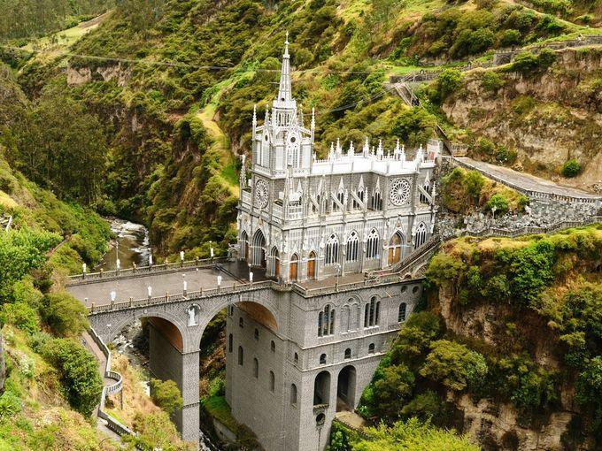 Las Laras Sanctuary sits perched on a bridge spanning a deep river gorge in sout…