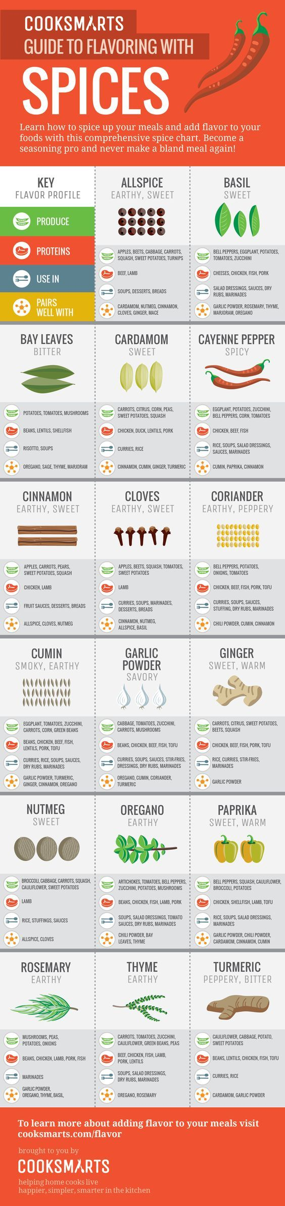 Learn how to cook and flavor your dishes with spices with our 3 infographic guides. They'll show you some of the most common spices that are hiding in your cupboard and how to use them, what flavors they add to your dish, which spices go well together, and what spices make up your favorite ethnic flavors.   busy moms, healthy moms, healthy food, health and fitness, healthy tips