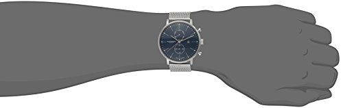 Akribos XXIV Men's AK685SSBU Ultimate Analog Display Swiss Quartz Silver Watch  Round watch featuring navy blue dial with stick markers and date window at 3 o'clock Round watch featuring navy blue dial with stick markers and date window at 3 o'clock Additional functions include month and 24-hour subdials Round watch featuring navy blue dial with stick markers and date window at 3 o'clock Round watch featuring navy blue dial with stick markers and date window at 3 o'clock Additional f..