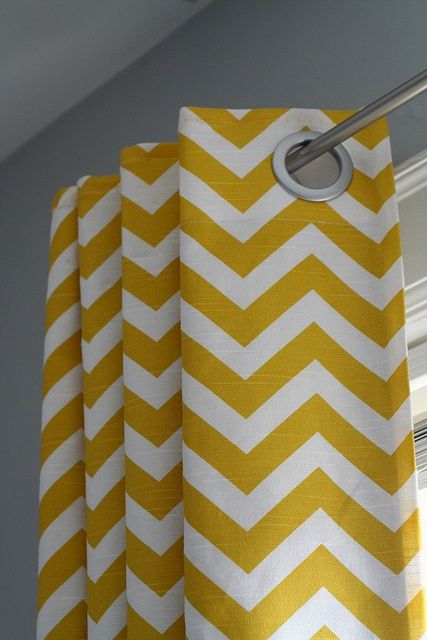 Yellow chevron curtain with grey wall for living room