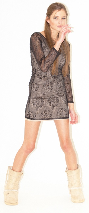 lace dress - Body lined dress with lace over layer, lace sleeves lace layer longer than lining binding at neck scooped neck, lower at back Limited run of this item: order early