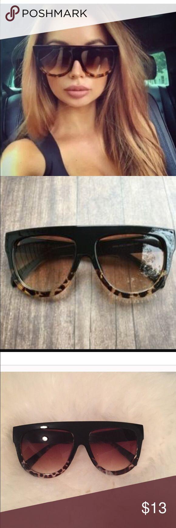 Oversized flat top vintage sunglasses. Black/leopa Fashion trend. Flat top sunglasses 😎 Accessories Glasses