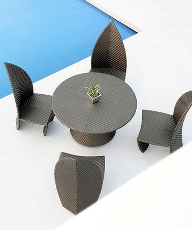 This Leaves Five-Piece Outdoor Dining Set by International Design is perfect! #zulilyfinds