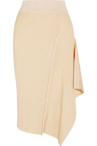 Stella McCartney - Asymmetric ribbed stretch-jersey midi skirt #StellaMcCartney