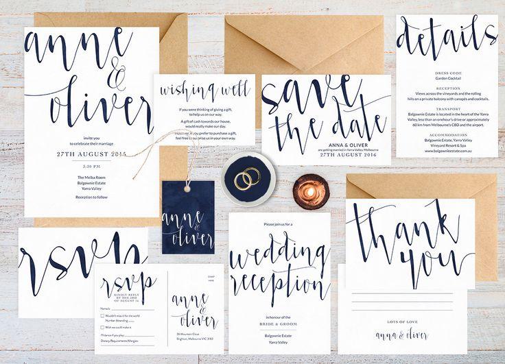 Navy Wedding Invitation Set, Wedding Suite, Wedding Stationery, Printable Wedding  Invitation, Navy