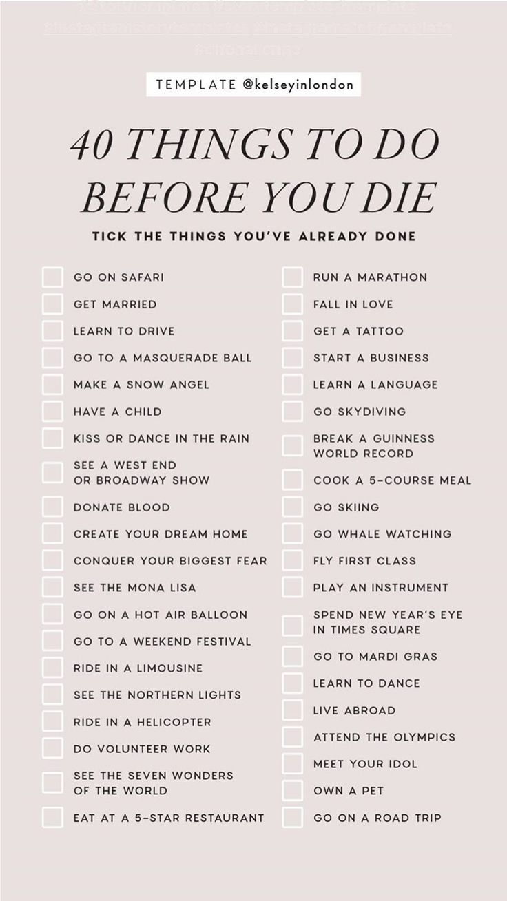 40 things to do before you die instagram story template by