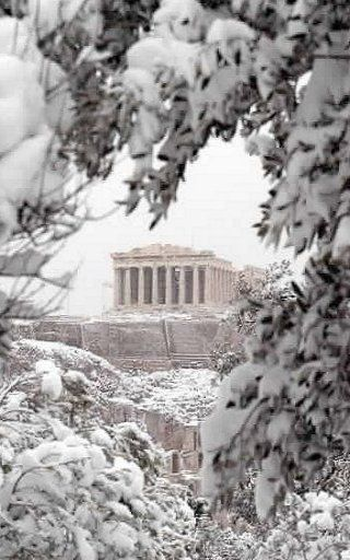 Acropolis under the snow, Athens, Greece