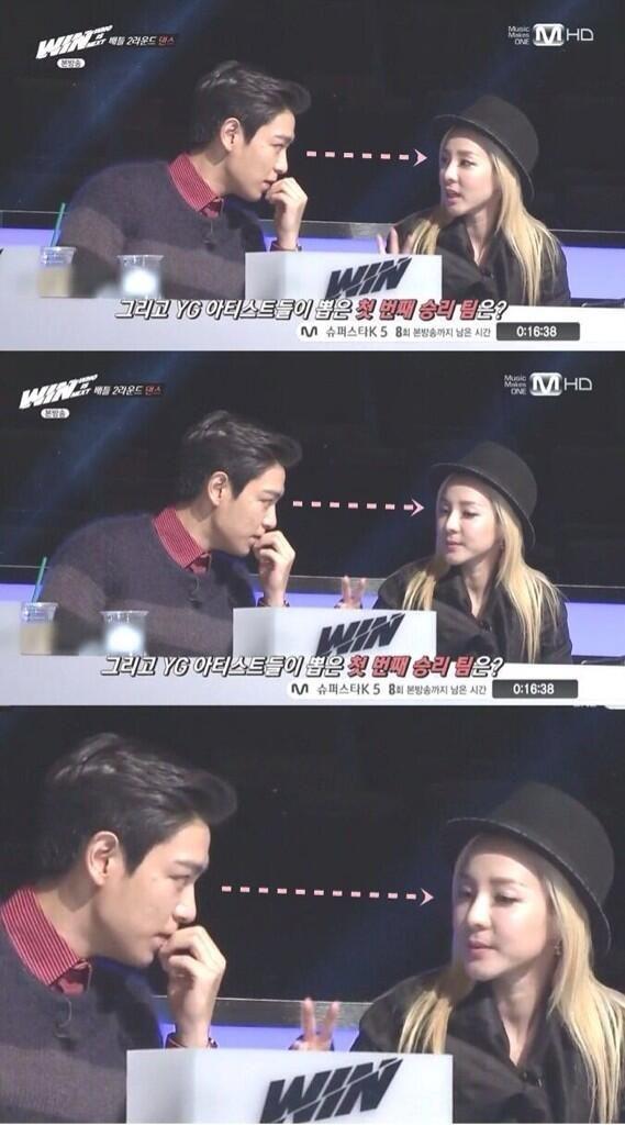 TOP (Choi Seung Hyun) ♡ #BIGBANG #KPOP - WIN . Dara can't handle Tabi's strong stare. kekekeke