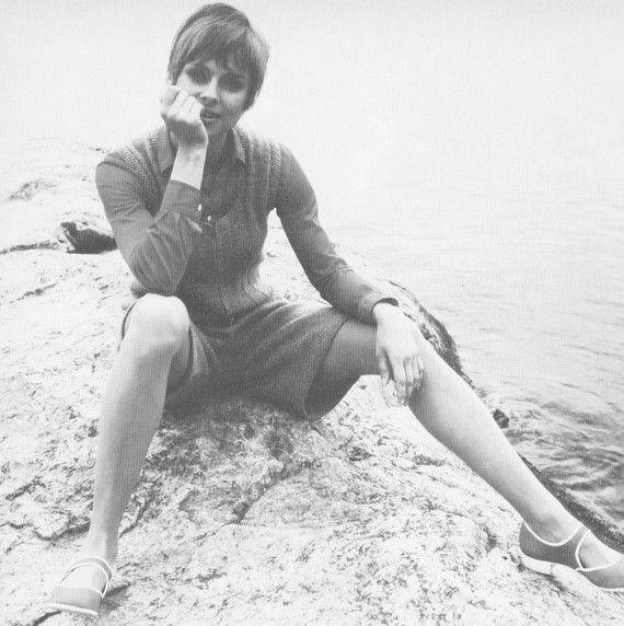 1970s Jumper Pant Dress Romper Knitting Pattern PDF by cemetarian
