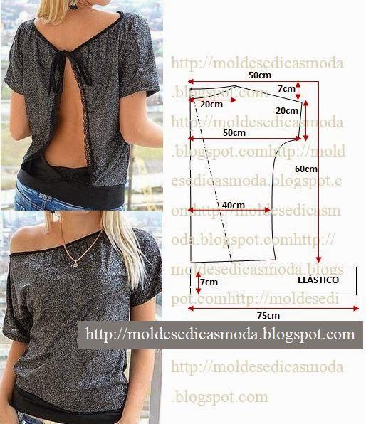 BLUSA COM DECOTE NAS COSTAS A blusa com decote nas costas que proponho mistura a elegância com a descontracção necessária ao dia-a-dia. Corte dois retângul