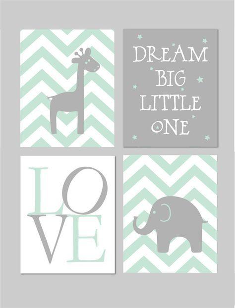Mint and Grey Nursery Elephant Nursery Dream Big Little One Baby Boy Nursery Mint Nursery Art INSTANT DOWNLOAD 8″x10″