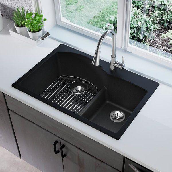 Quartz Classic 33 L X 22 W Double Basin Drop In Kitchen Sink