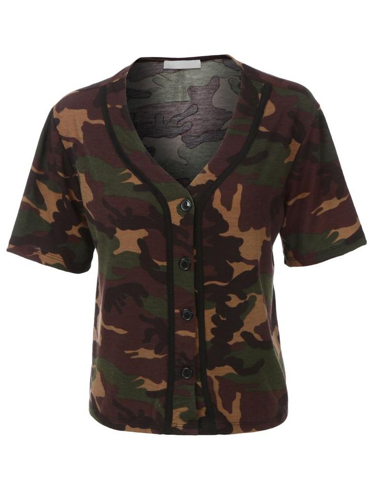Womens Cropped Camo Baseball Button Down T Shirt