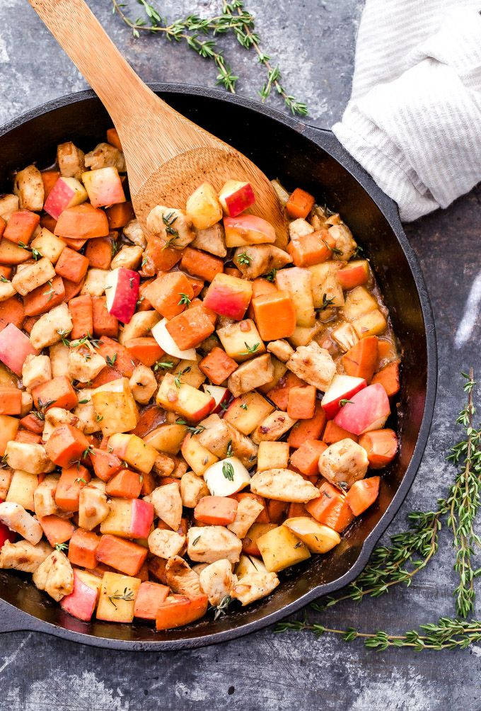 An easy skillet recipe that's bursting with sweet, savory, tangy flavor! This Maple Mustard Chicken, Sweet Potato and Apple Skillet is a delicious and healthy dinner that will have you going back for seconds! #skillet #chicken #sweetpotato #apple #glutenfree #paleo #dinner